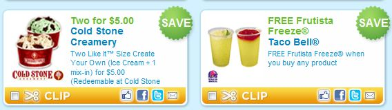 graphic regarding Cold Stone Printable Coupons called Chilly Stone Creamery Taco Bell Coupon codes