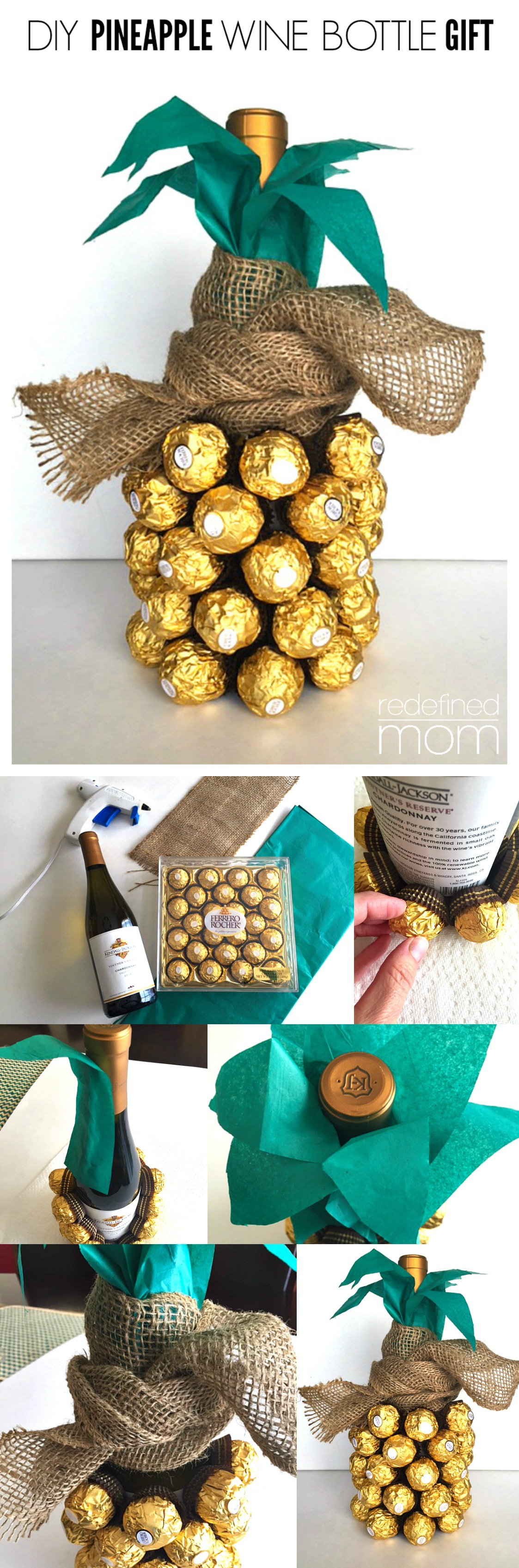 diy pineapple wine bottle gift tutorial