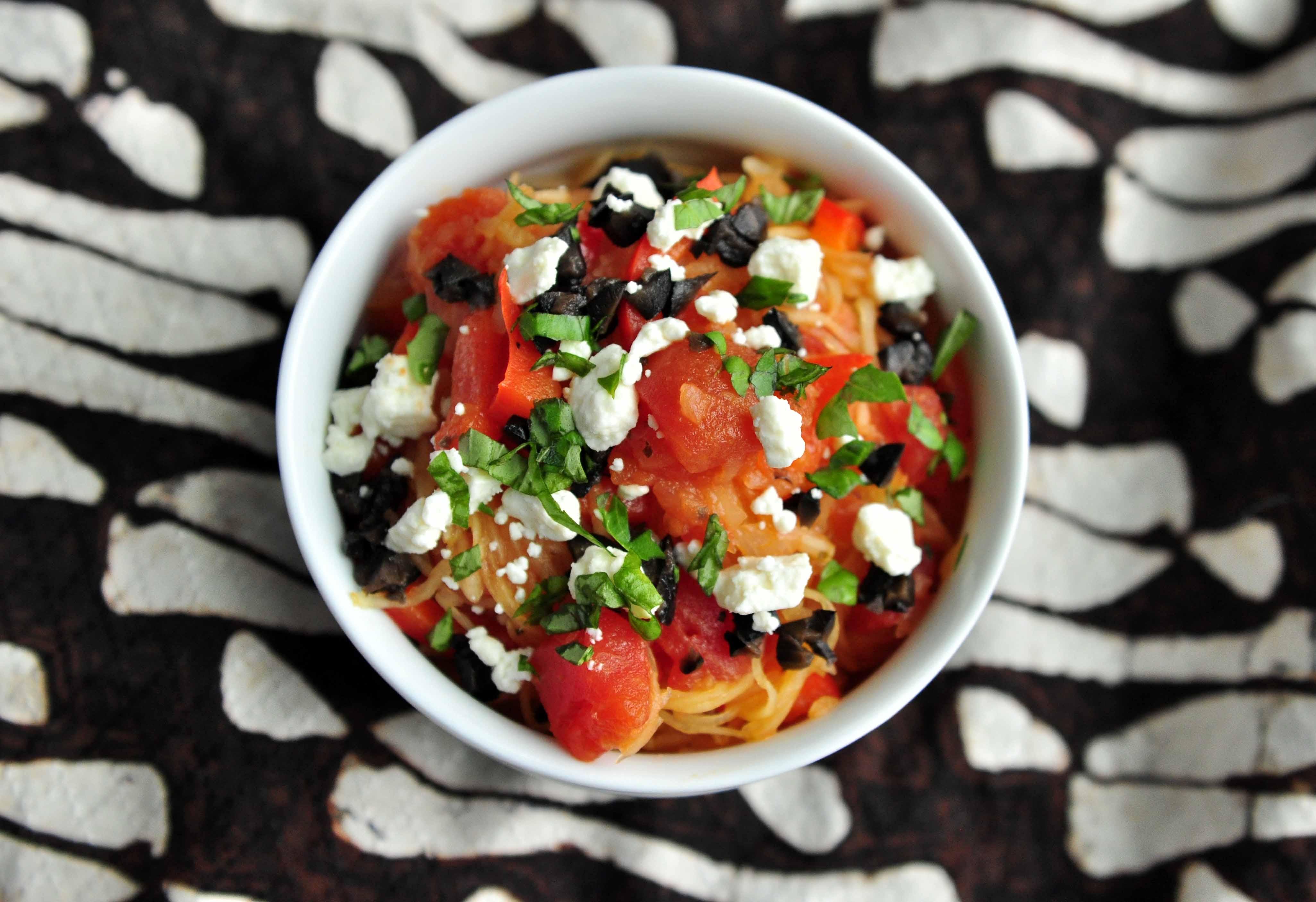 Spaghetti Squash with Olives, Feta, Basil