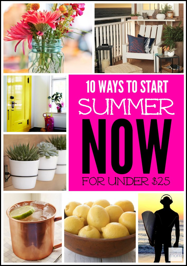 Anyone else ready for summer NOW? Don't wait until the summer months to enjoy the bliss that is SUMMER...here are 10 Ways To Start Summer Now That Are $25 And Under.  Bring on the sunshine, warm days, open windows and cocktails.