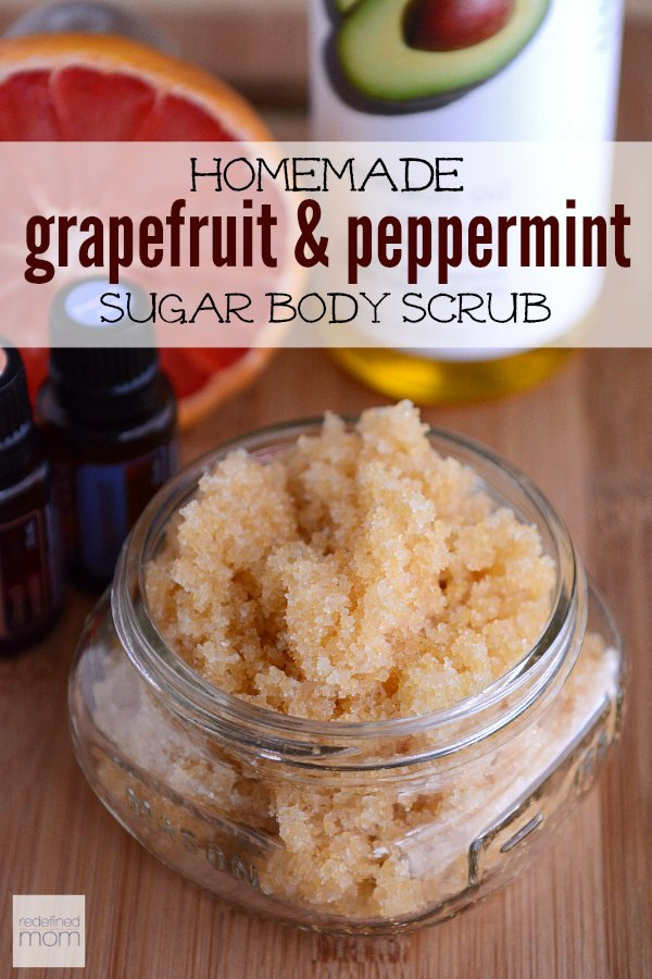 This All-Natural Homemade Grapefruit and Peppermint Sugar Scrub Recipe is the perfect summertime scrub. The peppermint is natural pick-me-up and grapefruit combats cellulite. Gives me energy, makes my skin better, and is all-natural? What more could a person want from a homemade beauty product!