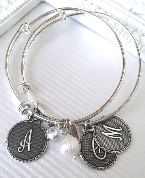 ALEX & ANI Look Alike Sterling Silver Initial Bracelets for $11