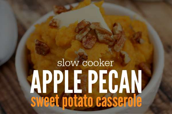 This Slow Cooker Apple Pecan Sweet Potato Casserole Recipe is all the tradition with less sugar - its sweetness comes from granny smith apples. Perfect for your next family dinner or just because on a Tuesday night.