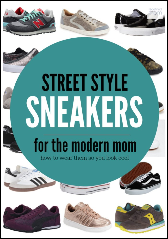 """Move over ballet flats and flip-flops - Street Style Sneakers For the Modern Mom are the new """"it"""" shoe. Here's how to wear them so you look hip, not silly when rocking the pick-up line. Fashion Over 35."""